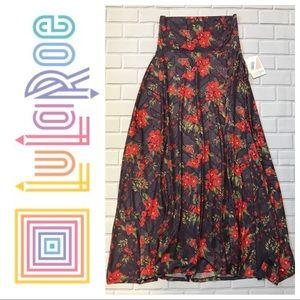 Lularoe NWT Purple/Orange Printed Maxi Skirt XS
